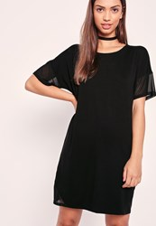 Missguided Mesh Diagonal Panel T Shirt Dress Black