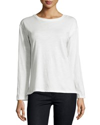 Neiman Marcus Active Long Sleeve Cotton Tee W Quote Back White Ridiculous