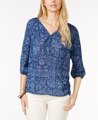 American Living Three Quarter Sleeve Printed Peasant Blouse Only At Macy's