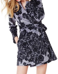 Betsey Johnson Lace Print Terry Robe Black