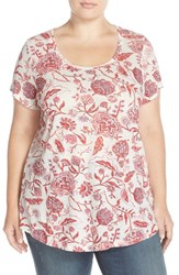 Lucky Brand Plus Size Women's 'Indo' Floral Print Linen Blend Tee