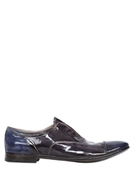 Premiata Hand Polished Leather Laceless Shoes Blue