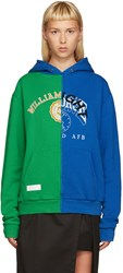 Off White Blue And Green Reassembled Hoodie