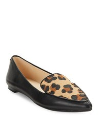 Karl Lagerfeld Destine Calf Hair Accented Leather Loafers Black Animal