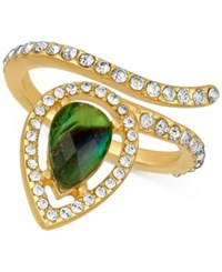 Rachel Roy Gold Tone Abalone Look And Pave Wrap Ring