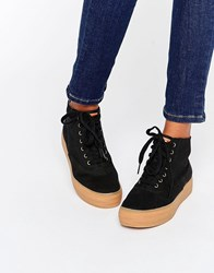Keds Platform Hi Top Canvas Trainers With White Sole Black Navy