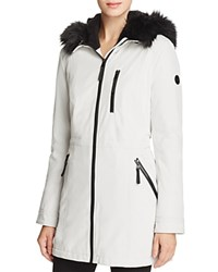 Calvin Klein Faux Fur Trim Jacket Cement