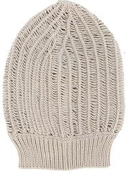 Rick Owens Slouchy Knit Beanie Nude And Neutrals