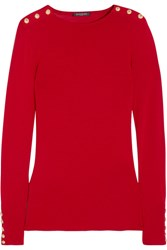 Balmain Embellished Wool And Cashmere Blend Sweater Red