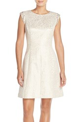 Petite Women's Vince Camuto Embellished Cotton Blend Fit And Flare Dress