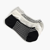 J.Crew Striped And Spotted No Show Socks Three Pack Basic Stripes