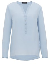 Hallhuber Silk Satin Trim Silk Tunic Light Blue