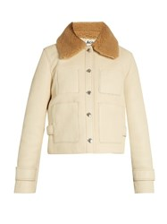 Acne Studios Felipa Detachable Collar Leather Jacket Ivory
