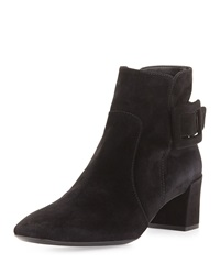 Roger Vivier Polly Suede Side Buckle Ankle Boot Black