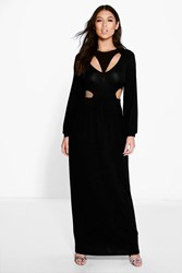 Boohoo Cut Out Split Side Maxi Dress Black
