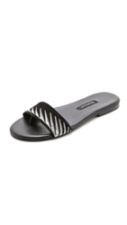 Newbark Roma Embroidered Suede Slides Black White