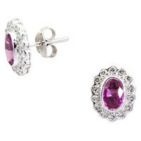 Turner And Leveridge 2000S 18Ct White Gold Sapphire And Diamond Stud Earrings Pink