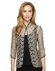 Alex Evenings Scalloped Two Piece Twinset Black Charcoal Ivory