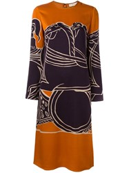 Tory Burch 'Horses' Print Longsleeved Dress Yellow Orange