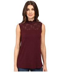 Vince Camuto Sleeveless Top With Lace Mock Neck And Yoke Raisin Women's Clothing Brown