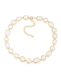 1St And Gorgeous Cabochon Stone Collar Necklace White