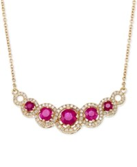 Rare Featuring Gemfields Certified Ruby 1 5 8 Ct. T.W. And Diamond 3 8 Ct. T.W. Fancy Statement Necklace In 14K Gold Only At Macy's Yellow Gold