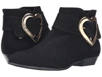 Love Moschino Suede Heart Buckle Ankle Bootie Black Women's Boots