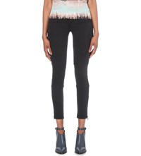 Allsaints Gwen Skinny Low Rise Cargo Jeans Washed Black