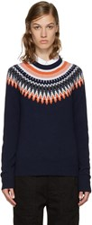 Ymc Navy And Orange Fairisle Sweater