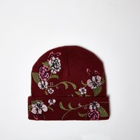River Island Womens Red Floral Embroidered Beanie Hat