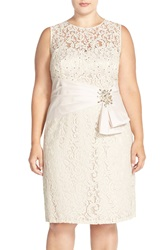 Eliza J Embellished Taffeta Detail Lace Sheath Dress Plus Size Cream