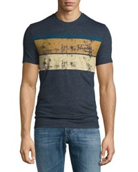 Penguin Stripe Graphic Jersey T Shirt Blue