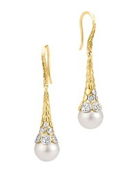 John Hardy Dot 18K Yellow Gold Diamond Pave Earrings With Cultured Freshwater Pearls White Gold