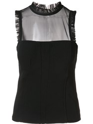 Cinq A Sept Sheer Panel Tank Top Black
