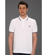 Slim Fit Twin Tipped Fred Perry Polo White Ice Navy Men's Short Sleeve Knit Multi