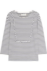 Chinti And Parker Ruffled Striped Cotton Jersey Top Midnight Blue White