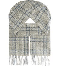 Johnstons Donegal Cashmere Scarf Grey Blue