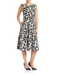 Betsey Johnson Rose Lace Fit And Flare Midi Dress Ivory Black