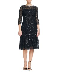 Kay Unger Sequin Lace Dress Midnight