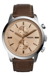 Men's Fossil 'Townsman' Chronograph Leather Strap Watch 48Mm