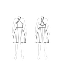 Customize Switch To Knee Length Fame And Partners Cross Strap Knee Length Halter Dress White