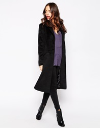 Brave Soul Double Breasted Fitted Coat Black