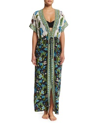 Tory Burch Floral Print Long Caftan Coverup Nw Ivry Wstr Wstr