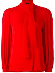 Joseph Tie Neck Blouse Red