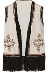 Talitha Fringed Embroidered Woven Silk Vest White