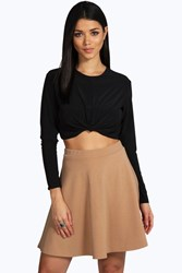 Boohoo Fit And Flare Skater Skirt Camel