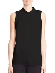 Lafayette 148 New York Finesse Asymmetrical Crepe Blouse Black
