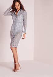 Missguided Lace Button Up Midi Shirt Dress Grey Grey