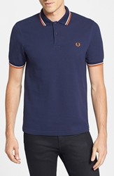 Fred Perry Trim Fit Twin Tipped Polo Medieval Blue