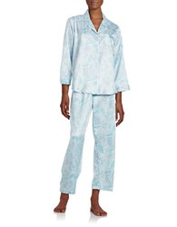 Miss Elaine Petite Printed Pajama Set Blue